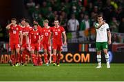 6 September 2018; Seamus Coleman of Republic of Ireland reacts after Gareth Bale of Wales, scored his side's second goal during the UEFA Nations League match between Wales and Republic of Ireland at the Cardiff City Stadium in Cardiff, Wales. Photo by Stephen McCarthy/Sportsfile