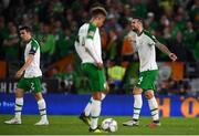 6 September 2018; Seamus Coleman, left, Callum Robinson, centre, and Shane Duffy of Republic of Ireland after Wales score their third goal during the UEFA Nations League match between Wales and Republic of Ireland at the Cardiff City Stadium in Cardiff, Wales. Photo by Stephen McCarthy/Sportsfile