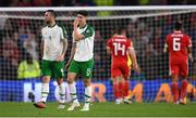 6 September 2018; Shane Duffy and Callum O'Dowda of Republic of Ireland react after Wales score their third goal during the UEFA Nations League match between Wales and Republic of Ireland at the Cardiff City Stadium in Cardiff, Wales. Photo by Stephen McCarthy/Sportsfile