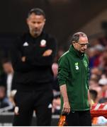 6 September 2018; Republic of Ireland manager Martin O'Neill, right, and Wales manager Ryan Giggs during the UEFA Nations League match between Wales and Republic of Ireland at the Cardiff City Stadium in Cardiff, Wales. Photo by Stephen McCarthy/Sportsfile