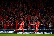 6 September 2018; Connor Roberts, left, of Wales celebrates with teammate David Brooks after scoring his side's fourth goal during the UEFA Nations League match between Wales and Republic of Ireland at the Cardiff City Stadium in Cardiff, Wales. Photo by Stephen McCarthy/Sportsfile
