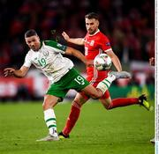 6 September 2018; Jonathan Walters of Republic of Ireland in action against Aaron Ramsey of Wales during the UEFA Nations League match between Wales and Republic of Ireland at the Cardiff City Stadium in Cardiff, Wales. Photo by Stephen McCarthy/Sportsfile