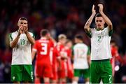 6 September 2018; Shaun Williams, right, and Jonathan Walters of Republic of Ireland applaud supporters following the UEFA Nations League match between Wales and Republic of Ireland at the Cardiff City Stadium in Cardiff, Wales. Photo by Stephen McCarthy/Sportsfile