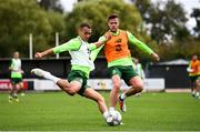 7 September 2018; Graham Burke, left, and Kevin Long during a Republic of Ireland training session at Dragon Park in Newport, Wales. Photo by Stephen McCarthy/Sportsfile