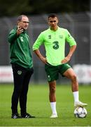 7 September 2018; Republic of Ireland manager Martin O'Neill and Graham Burke during a Republic of Ireland training session at Dragon Park in Newport, Wales. Photo by Stephen McCarthy/Sportsfile