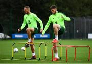 7 September 2018; Matt Doherty and David Meyler, left, during a Republic of Ireland training session at Dragon Park in Newport, Wales. Photo by Stephen McCarthy/Sportsfile
