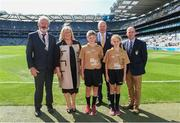 2 September 2018; INTO President Joe Killeen, President of the LGFA Máire Hickey, Chairman of Cumann na mBunscol Liam McGee, and Uachtarán Chumann Lúthchleas Gael John Horan, with the referees Diarmuid Corcorcan, Ballindee NS, Baile an Easpaig, Co Cork and Leonie Ní Loinsigh, Gaelscoil Uí Riada, Bishopstown, Co Cork, ahead of the INTO Cumann na mBunscol GAA Respect Exhibition Go Games at the Electric Ireland GAA Football All-Ireland Minor Championship Final match between Kerry and Galway at Croke Park in Dublin. Photo by Daire Brennan/Sportsfile