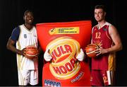 5 September 2018; Mouth-watering opening round Hula Hoops National Cup clash in store as Tralee drawn against Templeogue and Glanmire face Killester. There will be a mouth-watering opening to the 2018/19 Hula Hoops Men's National Cup this season as reigning champions Templeogue will host Garvey's Tralee Warriors in a hugely-anticipated clash. The draw was made at the National Basketball Arena in Tallaght this afternoon as part of the official launch of the 2018/19 Basketball Ireland season, which sees a huge 49 clubs competing in the senior National League and Cups this year.   Today's Cup draws dished up a number of interesting clashes across the board, with last year's Pat Duffy Cup runners up UCD Marian facing Moycullen, while Belfast Star will host Neptune. In the Women's National Cup there are some big clashes in store with the draw pitting Ambassador UCC Glanmire against Pyrobel Killester in the opening round, while Marble City Hawks and Fr Mathews – who met each other five times last season between the Cup and the regular season, and have faced each other every year for the past four years in National Cup – will face each other yet again. Pictured are Shay Ajayi of Ulster University Elks, left, and Tom Rivard of Gamefootage.net Titans. Photo by Sam Barnes/Sportsfile