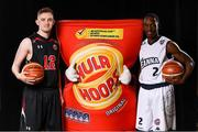 5 September 2018; Mouth-watering opening round Hula Hoops National Cup clash in store as Tralee drawn against Templeogue and Glanmire face Killester. There will be a mouth-watering opening to the 2018/19 Hula Hoops Men's National Cup this season as reigning champions Templeogue will host Garvey's Tralee Warriors in a hugely-anticipated clash. The draw was made at the National Basketball Arena in Tallaght this afternoon as part of the official launch of the 2018/19 Basketball Ireland season, which sees a huge 49 clubs competing in the senior National League and Cups this year.   Today's Cup draws dished up a number of interesting clashes across the board, with last year's Pat Duffy Cup runners up UCD Marian facing Moycullen, while Belfast Star will host Neptune. In the Women's National Cup there are some big clashes in store with the draw pitting Ambassador UCC Glanmire against Pyrobel Killester in the opening round, while Marble City Hawks and Fr Mathews – who met each other five times last season between the Cup and the regular season, and have faced each other every year for the past four years in National Cup – will face each other yet again. Pictured are Andrew Flood of KUBS and Royce Paris of DBS Eanna. Photo by Sam Barnes/Sportsfile