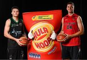 5 September 2018; Mouth-watering opening round Hula Hoops National Cup clash in store as Tralee drawn against Templeogue and Glanmire face Killester. There will be a mouth-watering opening to the 2018/19 Hula Hoops Men's National Cup this season as reigning champions Templeogue will host Garvey's Tralee Warriors in a hugely-anticipated clash. The draw was made at the National Basketball Arena in Tallaght this afternoon as part of the official launch of the 2018/19 Basketball Ireland season, which sees a huge 49 clubs competing in the senior National League and Cups this year.   Today's Cup draws dished up a number of interesting clashes across the board, with last year's Pat Duffy Cup runners up UCD Marian facing Moycullen, while Belfast Star will host Neptune. In the Women's National Cup there are some big clashes in store with the draw pitting Ambassador UCC Glanmire against Pyrobel Killester in the opening round, while Marble City Hawks and Fr Mathews – who met each other five times last season between the Cup and the regular season, and have faced each other every year for the past four years in National Cup – will face each other yet again. Pictured are Mike Pierre of Portlaoise Panthers, left, and John McCarthy of IT Carlow Basketball. Photo by Sam Barnes/Sportsfile