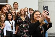 7 September 2018; Deirdre Duke takes a selfie with team mates during a reception to honour the Ireland Women's Hockey team and their performance at the 2018 Women's Hockey World Cup at Áras an Uachtaráin in Phoenix Park, Dublin. Photo by Piaras Ó Mídheach/Sportsfile