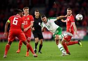 6 September 2018; Jonathan Walters of Republic of Ireland in action against Wales players, from left, Ashley Williams, Matthew Smith and Aaron Ramsey during the UEFA Nations League match between Wales and Republic of Ireland at the Cardiff City Stadium in Cardiff, Wales. Photo by Stephen McCarthy/Sportsfile