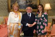 7 September 2018; President of Ireland Michael D Higgins and his wife Sabina greet Emily Beatty during a reception to honour the Ireland Women's Hockey team and their performance at the 2018 Women's Hockey World Cup at Áras an Uachtaráin in Phoenix Park, Dublin. Photo by Piaras Ó Mídheach/Sportsfile