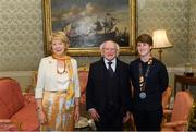 7 September 2018; President of Ireland Michael D Higgins and his wife Sabina greet Alison Meeke during a reception to honour the Ireland Women's Hockey team and their performance at the 2018 Women's Hockey World Cup at Áras an Uachtaráin in Phoenix Park, Dublin. Photo by Piaras Ó Mídheach/Sportsfile