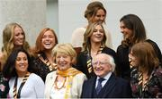 7 September 2018; President of Ireland Michael D Higgins and his wife Sabina with Ireland players during a reception to honour the Ireland Women's Hockey team and their performance at the 2018 Women's Hockey World Cup at Áras an Uachtaráin in Phoenix Park, Dublin. Photo by Piaras Ó Mídheach/Sportsfile
