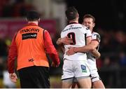 7 September 2018; John Cooney, 9, of Ulster celebrates with teammate Billy Burns after kicking a match winning penalty in injury time during the Guinness PRO14 Round 2 match between Ulster and Edinburgh Rugby at the Kingspan Stadium in Belfast. Photo by Oliver McVeigh/Sportsfile