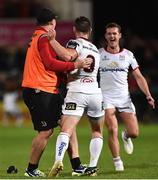 7 September 2018; John Cooney of Ulster celebrates with Coach Dan Soper after kicking a match winning penalty in injury time during the Guinness PRO14 Round 2 match between Ulster and Edinburgh Rugby at the Kingspan Stadium in Belfast. Photo by Oliver McVeigh/Sportsfile