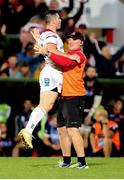 7 September 2018; John Cooney of Ulster celebrates with Ulster Skills coach Dan Soper after kicking a match winning penalty in injury time during the Guinness PRO14 Round 2 match between Ulster and Edinburgh Rugby at the Kingspan Stadium in Belfast. Photo by John Dickson/Sportsfile