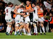 7 September 2018; Ulster players celebrate after their teammate John Cooney, hidden, kicked a match winning penalty in injury time during the Guinness PRO14 Round 2 match between Ulster and Edinburgh Rugby at the Kingspan Stadium in Belfast. Photo by John Dickson/Sportsfile