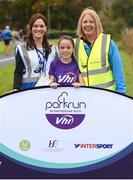 8 September 2018; parkrun Ireland in partnership with Vhi, added their 96th event on Saturday, 8th September, with the introduction of the Mungret parkrun in Co. Limerick. parkruns take place over a 5km course weekly, are free to enter and are open to all ages and abilities, providing a fun and safe environment to enjoy exercise. To register for a parkrun near you visit www.parkrun.ie. Pictured are event director Tonya Power, from Mungret, left, and Lavinia Ryan-Duggan from Vhi withher daughter Sophie Duggan, prior to Mungret parkrun. Photo by Diarmuid Greene/Sportsfile