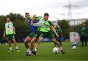 8 September 2018; Alan Judge, right, and Graham Burke during a Republic of Ireland training session at Dragon Park in Newport, Wales. Photo by Stephen McCarthy/Sportsfile