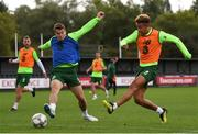 8 September 2018; Callum Robinson, right, and Seamus Coleman during a Republic of Ireland training session at Dragon Park in Newport, Wales. Photo by Stephen McCarthy/Sportsfile