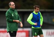 8 September 2018; Republic of Ireland manager Martin O'Neill and Seamus Coleman during a Republic of Ireland training session at Dragon Park in Newport, Wales. Photo by Stephen McCarthy/Sportsfile