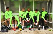 8 September 2018; Players, from left, Shaun Williams, Matt Doherty, Daryl Horgan, Darren Randolph, Colin Doyle and Caoimhin Kelleher during a Republic of Ireland training session at Dragon Park in Newport, Wales. Photo by Stephen McCarthy/Sportsfile