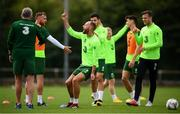 8 September 2018; David Meyler reacts during a Republic of Ireland training session at Dragon Park in Newport, Wales. Photo by Stephen McCarthy/Sportsfile