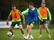 8 September 2018; Seamus Coleman with Ciaran Clark, left, and Aiden O'Brien, right, during a Republic of Ireland training session at Dragon Park in Newport, Wales. Photo by Stephen McCarthy/Sportsfile