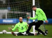 8 September 2018; Darren Randolph saves from Kevin Long during a Republic of Ireland training session at Dragon Park in Newport, Wales. Photo by Stephen McCarthy/Sportsfile