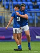 8 September 2018; Leinster players Ryan McMahon, right, and Max O'Reilly celebrate after the U19 Interprovincial Championship match between Leinster and Munster at Energia Park in Dublin. Photo by Piaras Ó Mídheach/Sportsfile