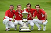 8 September 2018; Danish players from left, team captain Torben Henriksen Nyehuus, John Axelsen, Nicolai Hojgaard and Rasmus Hojgaard with the Eisenhower Trophy after the 2018 World Amateur Team Golf Championships - Eisenhower Trophy competition at Carton House in Maynooth, Co Kildare. Photo by Matt Browne/Sportsfile