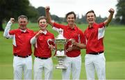 8 September 2018; Danish players from left, team captain Torben Henriksen Nyehuus, John Axelsen, Nicolai Hojgaard and Rasmus Hojgaard celebrate with the Eisenhower Trophy after the 2018 World Amateur Team Golf Championships - Eisenhower Trophy competition at Carton House in Maynooth, Co Kildare. Photo by Matt Browne/Sportsfile