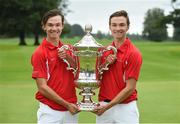 8 September 2018; Danish players and twin brothers Nicolai, left, and Rasmus Hojgaard with the Eisenhower Trophy after the 2018 World Amateur Team Golf Championships - Eisenhower Trophy competition at Carton House in Maynooth, Co Kildare. Photo by Matt Browne/Sportsfile