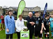 8 September 2018; Daragh Ellison of Finn Harps receives the Mark Farren Memorial Cup from Kathleen and Michael Farren, parents of the late Mark Farren and Ruth Ryan SSE Airtricity Marketing and Sponsorship, left, after the SSE Airtricity League U17 Mark Farren Memorial Cup Final match between Finn Harps and Cork City at Finn Park in Ballybofey, Co Donegal. Photo by Oliver McVeigh/Sportsfile
