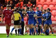 8 September 2018; Leinster players reacts after James Lowe scored their second try during the Guinness PRO14 Round 2 match between Scarlets and Leinster at Parc y Scarlets in Llanelli, Wales. Photo by Stephen McCarthy/Sportsfile