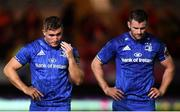 8 September 2018; Jordan Larmour, left, and Fergus McFadden of Leinster following the Guinness PRO14 Round 2 match between Scarlets and Leinster at Parc y Scarlets in Llanelli, Wales. Photo by Stephen McCarthy/Sportsfile