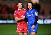 8 September 2018; James Lowe of Leinster and Samson Lee of Scarlets following the Guinness PRO14 Round 2 match between Scarlets and Leinster at Parc y Scarlets in Llanelli, Wales. Photo by Stephen McCarthy/Sportsfile