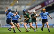 9 September 2018; Jackie Horgan of Kerry in action against Dublin players, from left, Eimear O'Riordan, Emma Barron and Niamh Gleeson during the Liberty Insurance All-Ireland Premier Junior Camogie Championship Final match between Dublin and Kerry at Croke Park in Dublin. Photo by David Fitzgerald/Sportsfile