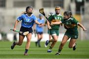 9 September 2018; Emma Barron of Dublin in action against Jessica Fitzell of Kerry during the Liberty Insurance All-Ireland Premier Junior Camogie Championship Final match between Dublin and Kerry at Croke Park in Dublin. Photo by David Fitzgerald/Sportsfile