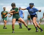 9 September 2018; Jessica Fitzell of Kerry in action against Eimear O'Riordan of Dublin during the Liberty Insurance All-Ireland Premier Junior Camogie Championship Final match between Dublin and Kerry at Croke Park in Dublin. Photo by David Fitzgerald/Sportsfile