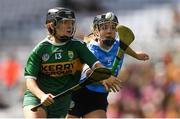 9 September 2018; Jessica Fitzell of Kerry in action against Emma Barron of Dublin during the Liberty Insurance All-Ireland Premier Junior Camogie Championship Final match between Dublin and Kerry at Croke Park in Dublin. Photo by Piaras Ó Mídheach/Sportsfile