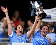 9 September 2018; Dublin captain Emer Keenan, left, and team mate Deirdre Johnstone lift the Kathleen Mills cup following the Liberty Insurance All-Ireland Premier Junior Camogie Championship Final match between Dublin and Kerry at Croke Park in Dublin. Photo by Piaras Ó Mídheach/Sportsfile