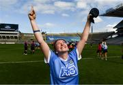 9 September 2018; Aoife Bugler of Dublin celebrates following the Liberty Insurance All-Ireland Premier Junior Camogie Championship Final match between Dublin and Kerry at Croke Park in Dublin. Photo by David Fitzgerald/Sportsfile