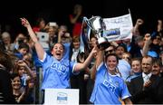 9 September 2018; Dublin captain Emer Keenan, left, and vice-captain Deirdre Johnstone lift the Kathleen Mills cup following the Liberty Insurance All-Ireland Premier Junior Camogie Championship Final match between Dublin and Kerry at Croke Park in Dublin. Photo by David Fitzgerald/Sportsfile