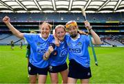 9 September 2018; Dublin players, from left, Emer Keenan, Aoife Bugler and Laoise Quinn celebrate following the Liberty Insurance All-Ireland Premier Junior Camogie Championship Final match between Dublin and Kerry at Croke Park in Dublin. Photo by David Fitzgerald/Sportsfile