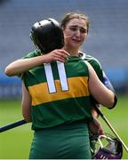 9 September 2018; Kerry players Niamh Leen, behind, and Laura Collins dejected after the Liberty Insurance All-Ireland Premier Junior Camogie Championship Final match between Dublin and Kerry at Croke Park in Dublin. Photo by Piaras Ó Mídheach/Sportsfile