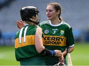 9 September 2018; Kerry players Niamh Leen, right, and Laura Collins dejected after the Liberty Insurance All-Ireland Premier Junior Camogie Championship Final match between Dublin and Kerry at Croke Park in Dublin. Photo by Piaras Ó Mídheach/Sportsfile