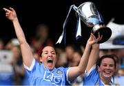 9 September 2018; Dublin captain Emer Keenan, left, and team mate Deirdre Johnstone lift the Kathleen Mills cup after the Liberty Insurance All-Ireland Premier Junior Camogie Championship Final match between Dublin and Kerry at Croke Park in Dublin. Photo by Piaras Ó Mídheach/Sportsfile